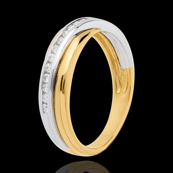 Alliance - semi pavée - 16 diamants - or blanc et or jaune 18 carats