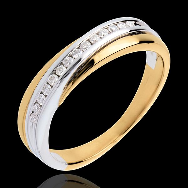 Alliance - serti rail - 14 diamants - or blanc et or jaune 18 carats