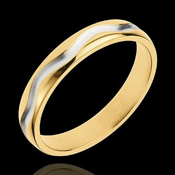 Alliance Sinusoïde - or blanc et or jaune 18 carats