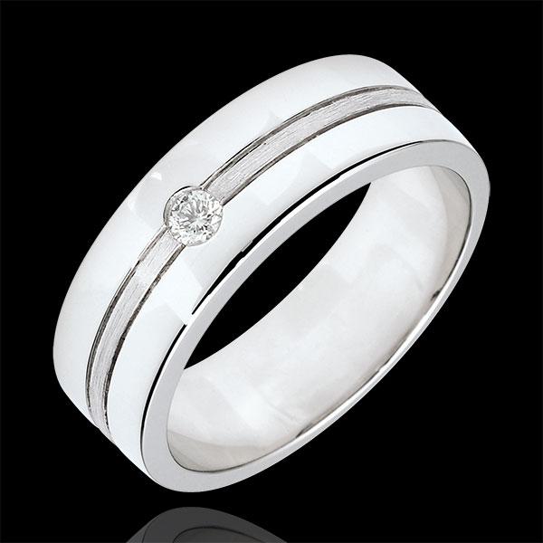 Alliance Star Diamant - Grand modèle - or blanc brossé 18 carats