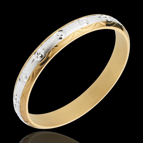 Alliance symboles solaires - or blanc et or jaune 18 carats