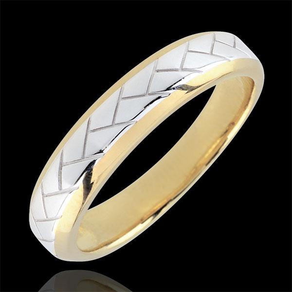 Alliance Tissage or blanc et or jaune 9 carats