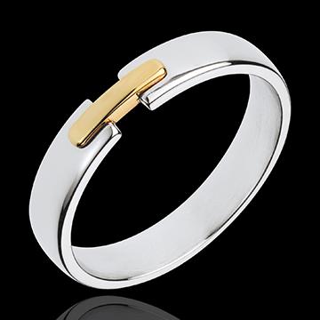alliance uni-précieux - or blanc et or jaune 18 carats