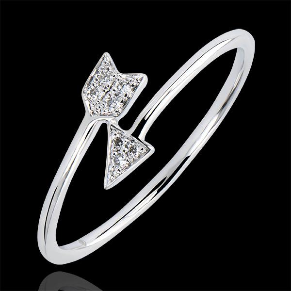Anello Abbondanza - Cupido - oro bianco 9 carati e diamanti