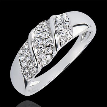 Anello Abbondanza - Nastro - oro bianco 9 carati e diamanti