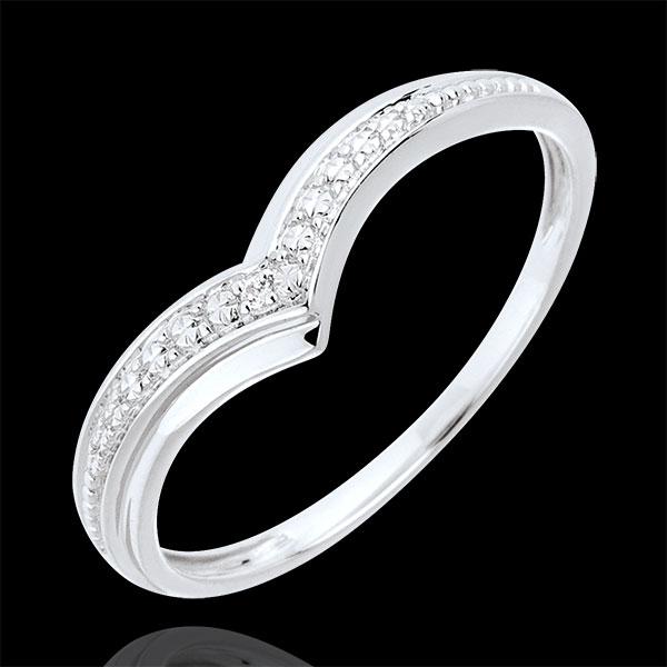 Anello Ali preziose - Oro bianco - 9 carati - Diamante
