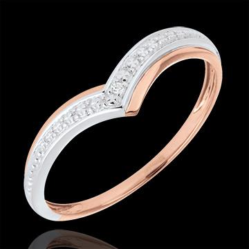 Anello Ali preziose - Oro bianco e Oro rosa - 18 carati - Diamante