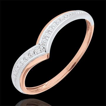 Anello Ali preziose - Oro bianco e Oro rosa - 9 carati - Diamante