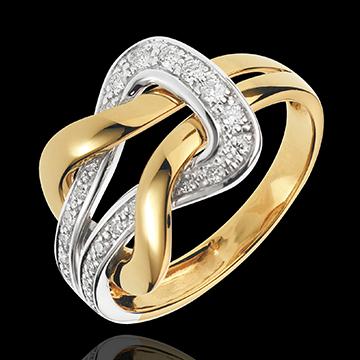 Anello Amore Eterno - Oro bianco e Oro giallo - 18 carati - 24 Diamanti - 0.25 carati