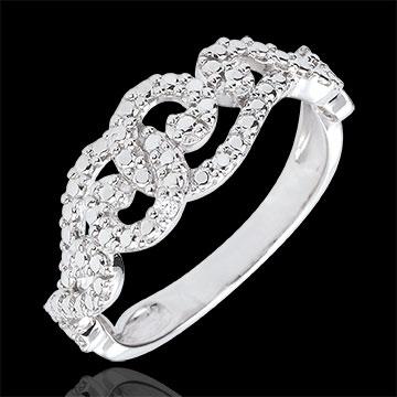 Anello Arabeschi Intrecciati - Oro bianco - 9 carati - Diamante