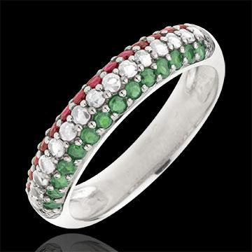 Anello Bandiera italiana - Oro bianco - 9 carati - 15 Diamanti - 14 Tsavoriti - 14 Rubini - 0.79 carati