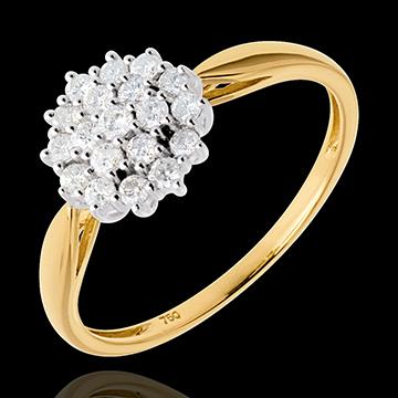 Anello Caleidoscopio pavé diamanti - Oro bianco e Oro giallo - 18 carati - 19 Diamanti - 0.35 carati