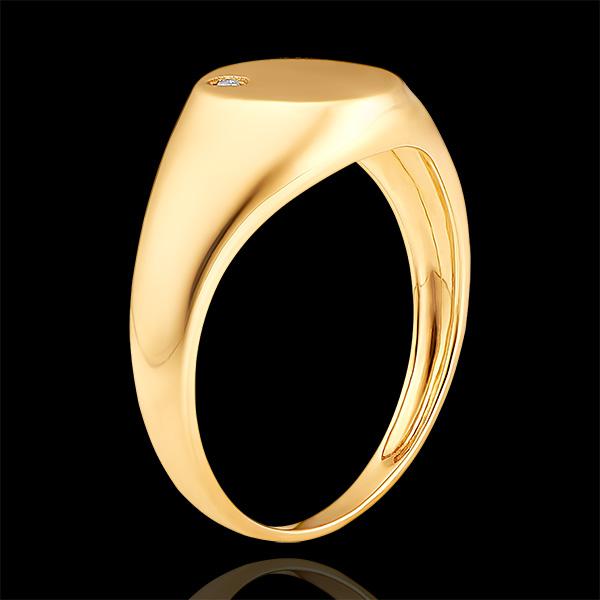 Anello Chiaroscuro - Chevalière Achille - oro giallo 9 carati e diamante