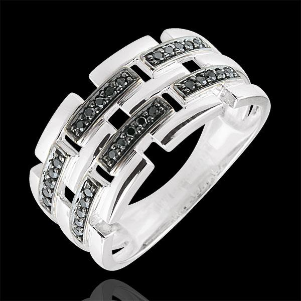 Anello Chiaroscuro -Via Segreta - Oro bianco - 9 carati - Diamanti nero - 0.15 carati -modello grande