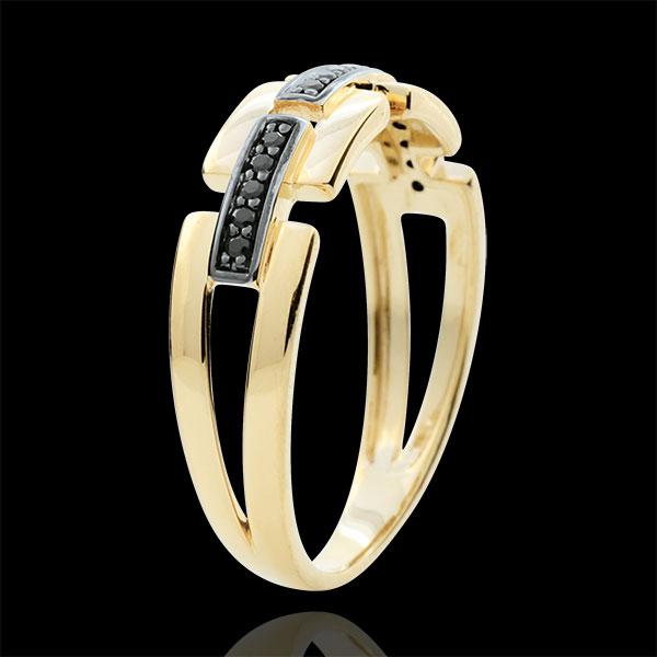 Anello Chiaroscuro - Via Segreta - Oro giallo - 9 carati - Diamanti neri - modello piccolo