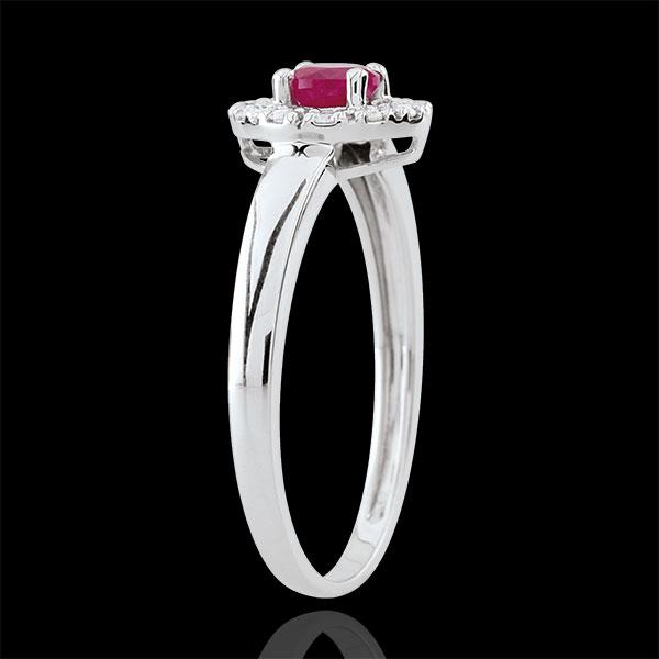 Anello Clévia - Oro bianco - 18 carati - 12 Diamanti Rubini