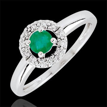 Anello Clévia - Oro bianco - 18 carati - 12 Diamanti - Smeraldi