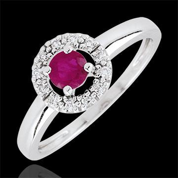 Anello Clévia - Oro bianco - 9 carati - 12 Diamanti - Rubini
