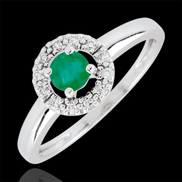 Anello Clévia - Oro bianco - 9 carati - 12 Diamanti - Smeraldi