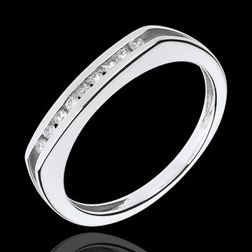 Anello Compromesso - Oro bianco - 18 carati - 9 Diamanti