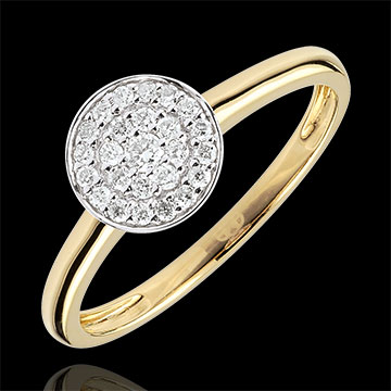 Anello Costellazione Bicolore - Oro giallo e Oro bianco - 9 carati - 25 Diamanti - 0.16 carati