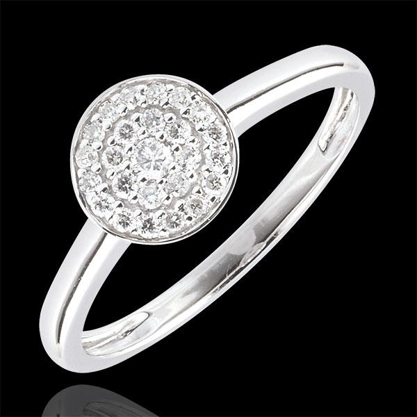 Anello Costellazione - Oro Bianco - 9 carati - 25 Diamanti - 0.16 carati