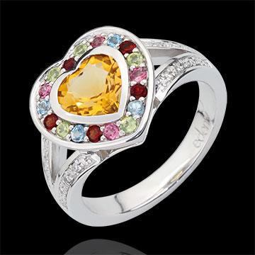 Anello Cuore delle Meraviglie - Argento - 16 Diamanti - Pietre dure - 1.67 carati
