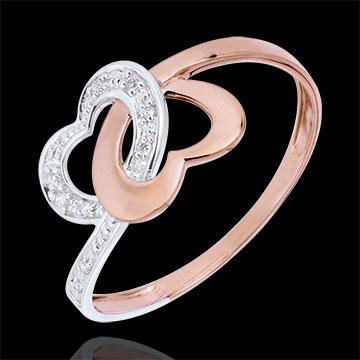 Anello Cuori legati Oro rosa e Oro bianco - 9 carati - 9 Diamanti