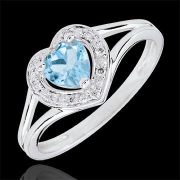 Anello Cuore Incantato - Oro bianco - 18 carati - 10 Diamanti - Topazio blu