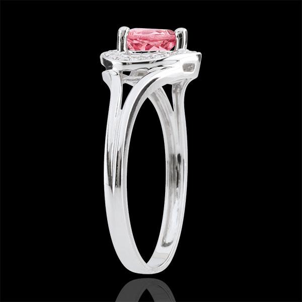Anello Cuore Incantato - Oro bianco - 9 carati - 10 Diamanti - Turmalina rosa