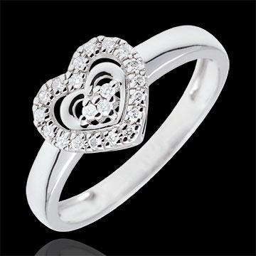 Anello Cuore Parigi - Oro bianco - 9 carati - 21 Diamanti