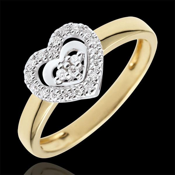 Anello Cuore Parigi - Oro bianco e Oro giallo - 9 carati - 21 Diamanti
