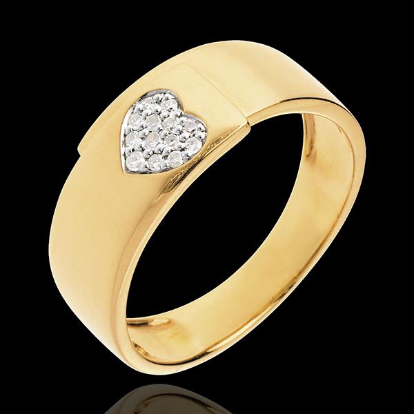 Anello Cuore su Fibbia - Oro giallo pavé - 18 carati -13 Diamanti