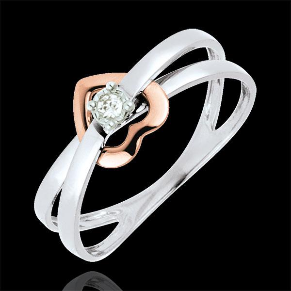Anello Cuore volteggio - Oro rosa e Oro bianco - 18 carati - Diamante