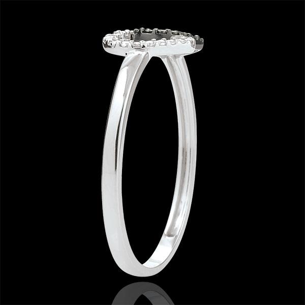 Anello Cuori Complici - Oro Bianco - 9 carati - Diamanti Bianchi e Diamanti Neri