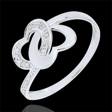 Anello Cuori legati - Oro bianco - 9 carati - 9 Diamanti