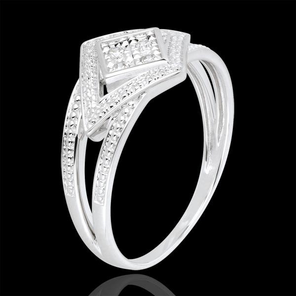 Anello Destino - Andromaca - Oro bianco - 18 carati - 4 Diamanti