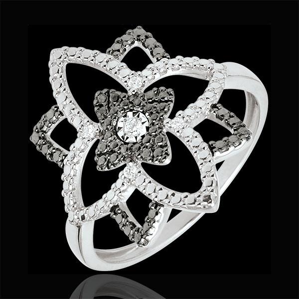 Anello Destino - Fiore di Luna - Oro bianco - 9 carati - Diamanti neri