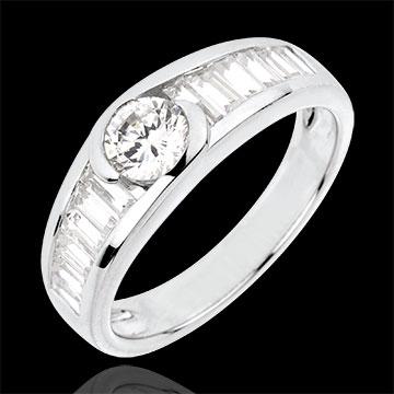 Anello Destino - Solitario Afrodite - Oro bianco - 18 carati - Diamante centrale - 0.46 carati