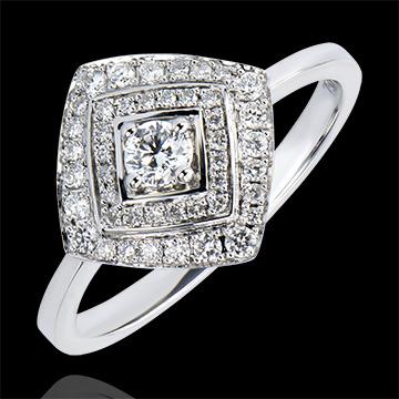 Anello di Fidanzamento Abbondanza - Doppio Halo Geometrico - oro bianco 18 carati e diamanti