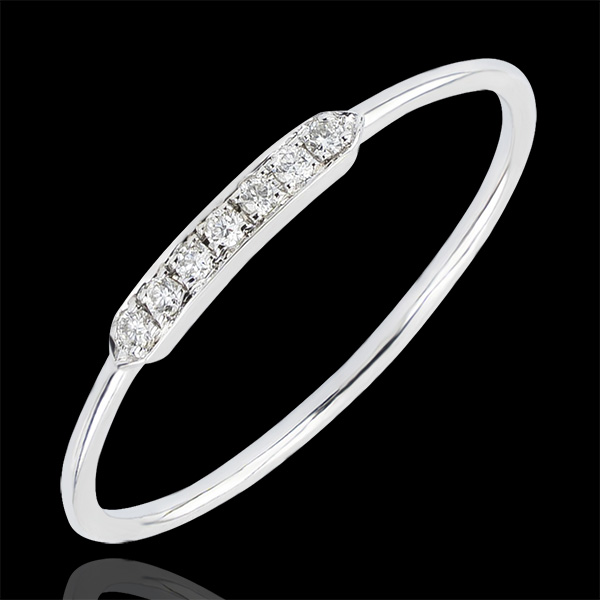 Anello di Fidanzamento Abbondanza - Equillibrio - oro bianco 9 carati e diamanti