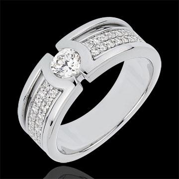 Anello di fidanzamento Costellazione - Oro bianco - 18 carati - Diamante Solitario - 0.35 carati