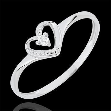 Anello Solitario Cuore d'Amore - Oro bianco - 18 carati - 1 Diamante
