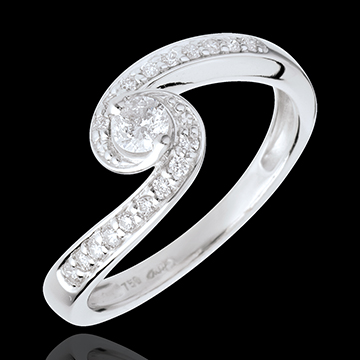 Anello di Fidanzamento Destino - Acquario - Oro bianco - 18 carati - Diamanti - 0.28 carati
