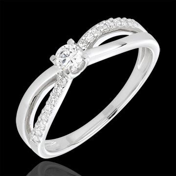 Anello di Fidanzamento Destino - Eternità - Oro bianco - 18 carati - Diamanti - 0.26 carati