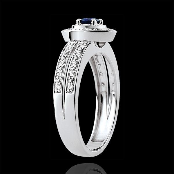 Anello di Fidanzamento Destino - Lady - Zaffiro 0.2 carati e Diamanti - Oro bianco 18 carati