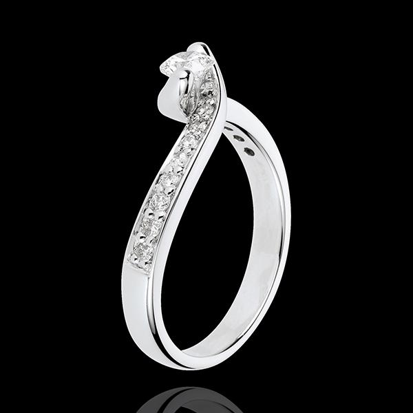 Anello di Fidanzamento Destino - Solstizio d'estate - Oro bianco - 18 carati - 17 Diamanti - 0.49 carati