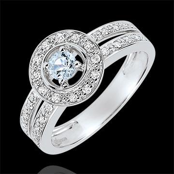 Anello di fidanzamento Destino - Donna - Aquamarina 0.2 carati e Diamanti - Oro bianco 18 carati