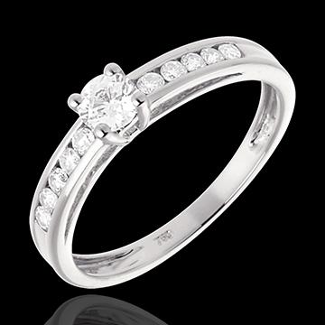 Solitario Schiarite - Oro bianco - 18 carati - 11 Diamanti - 0.39 carati