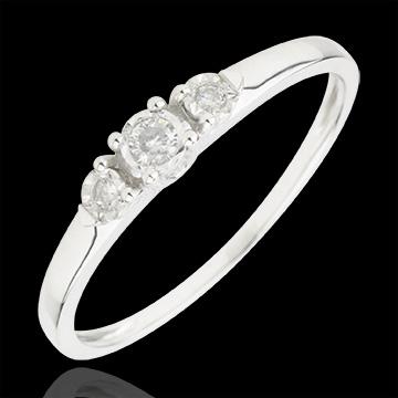 Anello Trilogy - Prima stella - Oro bianco - 18 carati - 3 Diamanti